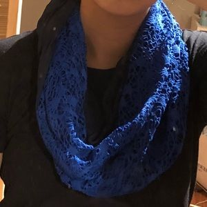 SILK Black & Blue Lace Infinity Scarf